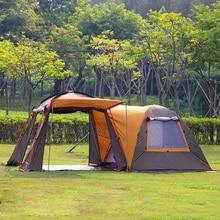 Alltel d'une salle une chambre double couche forte étanche coupe-vent ultralarge fête de famille tente de camping
