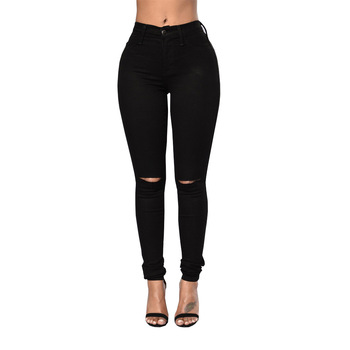 Fashion Sexy Women Skinny Jeans High Waist StretchZipper Jeans Woman Hole Ripped Casual Pencil Pants Plus Size europe new fashion women trousers slim blue jeans woman ripped hole jeans with high waist female pencil pants large size s 2xl