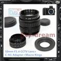 50mm F1.4 CCTV TV Lens C + Adaptador de Montagem Para Nikon Nikon1 J1 J2 J3 J4 J5 V1 V2 V3 S1 AW1 S1 S2 Câmera PA221