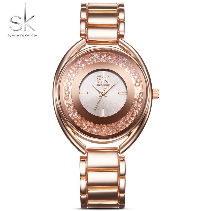 Shengke Luxury Women Watch Womens Wrist Watches with Diamond Golden Watchband Top Luxury Brand Ladies Bracelet
