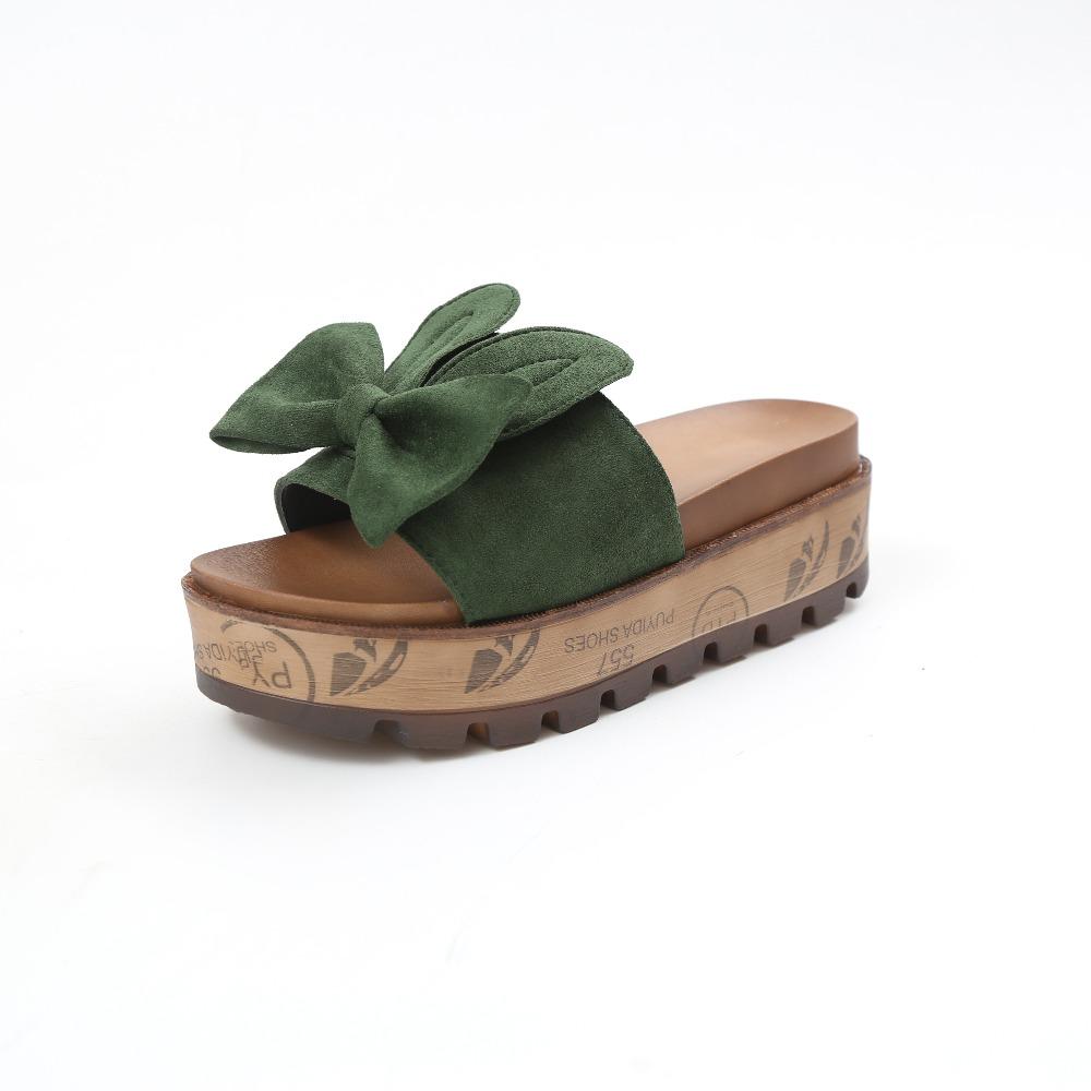 womens Summer Wedge Slippers, Platform High Heels, Women Slipper, Ladies Outside Shoes, Bowtie Slipper Clog, Flip Flop Sandals,