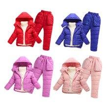 Мода 2017 зима дети утка вниз одежда наборы открытый теплые пальто высокое качество пальто куртки для детей комбинезоны 7 цвета