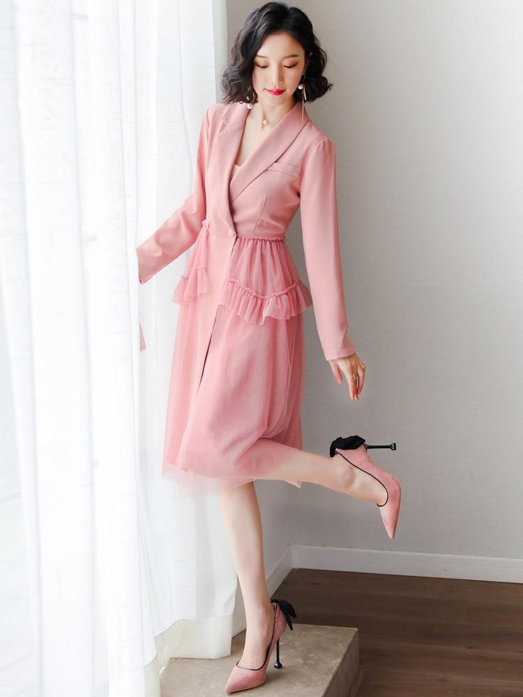 YIGELILA mujeres verano vestido de fiesta Rosa moda Slash cuello linterna manga imperio Delgado malla bordado vestido largo boda 63852 - 2