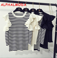 [ALPHALMODA] 2017 Autumn Ruffled Sleeve Pullover Knitted Bottom Shirt Slim Fit Basic Fashion Sweater 4colors