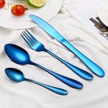 24-piece Blue Vintage Metal Cutlery Set Tableware Gold Stainless Steel Dinner Knifes Tablespoons Forks for Restaurant Dinnerware