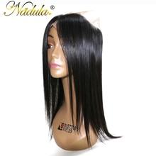 Nadula Hair Brazilian Straight Hair 360 Lace Frontal 100% Human Hair Natural Color 10-20inch Non Remy Hair Free Part Closure