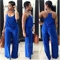 2016 Verão Sexy Roupas Uma Peça Calças Compridas Senhoras Pinup Azul Elegante Jumpsuit Fora Do Ombro Macacão Feminino Macacão Novo
