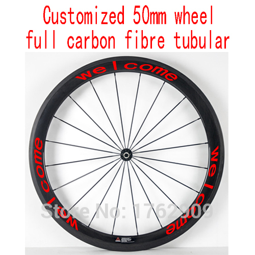 1pcs New 700C customized 50mm tubular rim road Track Fixed Gear bicycle aero 3K UD 12K full carbon fibre bike wheelset Free ship