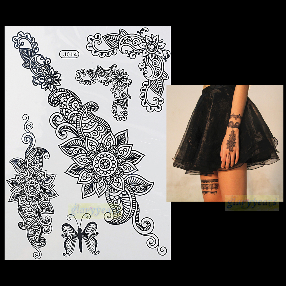 Henna Style Tattoos Lace Tattoo: 1PC Fashion Flash Waterproof Tattoo Women Black Henna