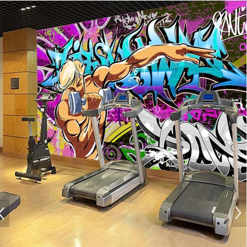 US $10 44 OFF Novelty Graffiti Hand Painting Wallpaper For Gym Room Street 3D Printed Wallpapers Mural Home Wall Decor Murals