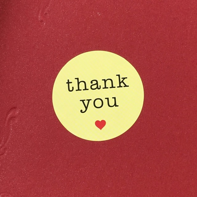 3cm yellow white color paper love thank you gifts stickers label