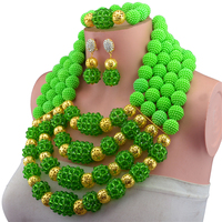 Gorgeous Crystal Beaded African Jewelry Necklace Set Green Pendant Necklace Earrings Set for Brides Free shipping CNR682