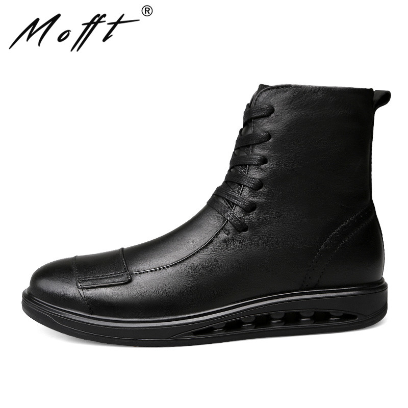 Big Size 38 46 Men Leather Boots Autumn New Comfort Lace Up Men Motorcycle Boots Handmade