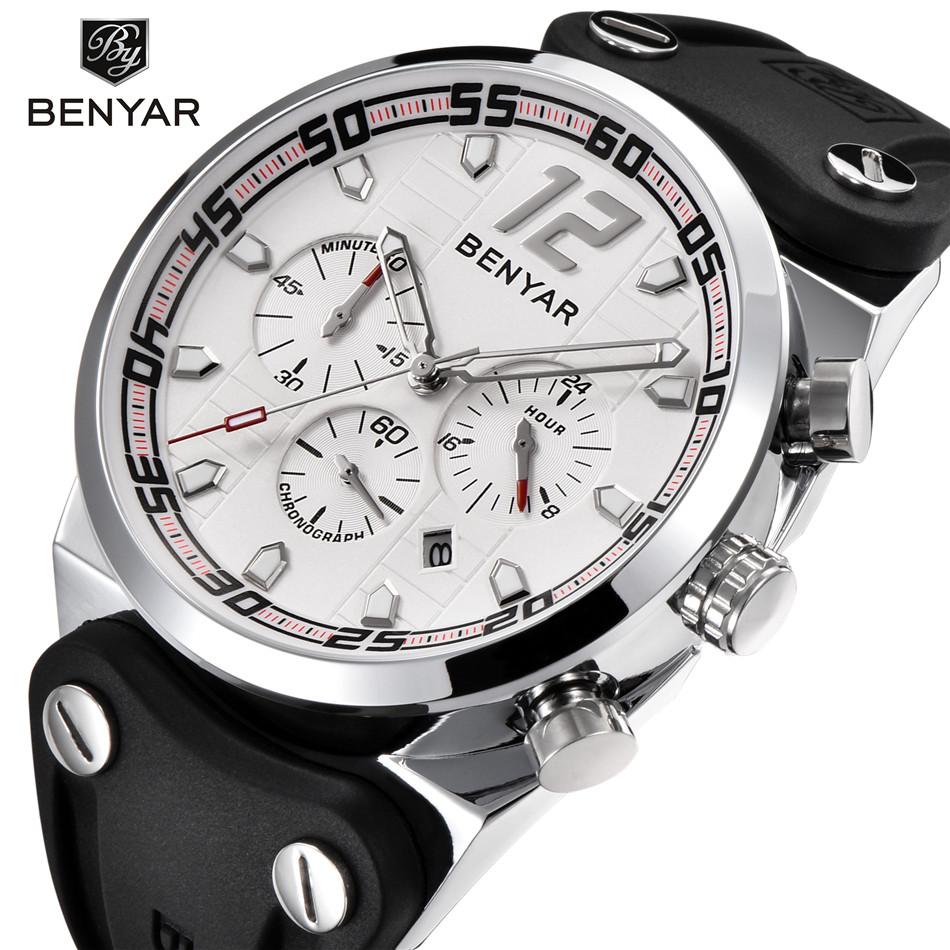 2018 NEW BENYAR Mens Watches Top Brand Luxury Fashion Chronograph Sport Silicone Quartz Military Watch Clock Relogio Masculino