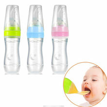 Cute Baby Bottle Infant Nipple Pacifier Baby Feeding Tool Milk Bottle With Spoon Silicone Gel Baby Pacifier Pacifier Holder(China)