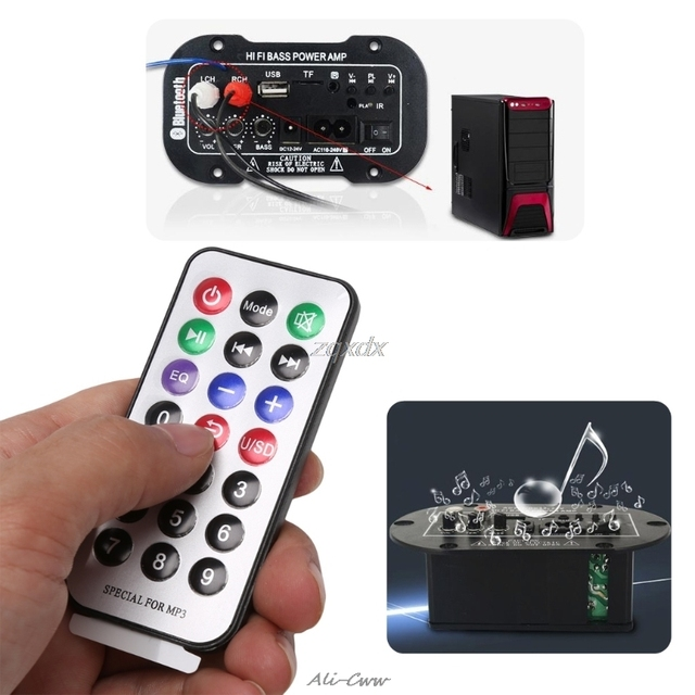 New Car Bluetooth HiFi Bass Power AMP Stereo 220V Digital Amplifier USB TF Remote For Car Home Accessories