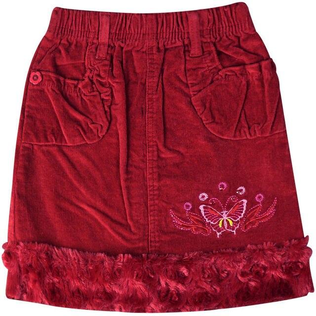 Girl's Red embroidery mini Corduroy skirts Above Knee with velvet hemline pockets elastic waistband ZQ-B53123