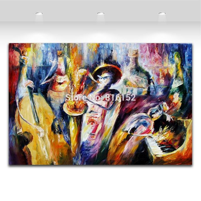 Palette knife painting bottle play jazz music carnival picture ...