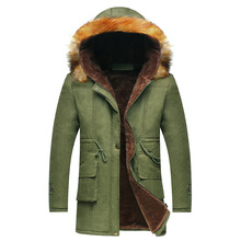 S-3xl! мужчины Пальто Зима 2016 Мужские Зимние Куртки мужская Мода Длинный С Капюшоном Добавить Шерсть Теплый Ветер Теплые Зимние Куртки мужчины