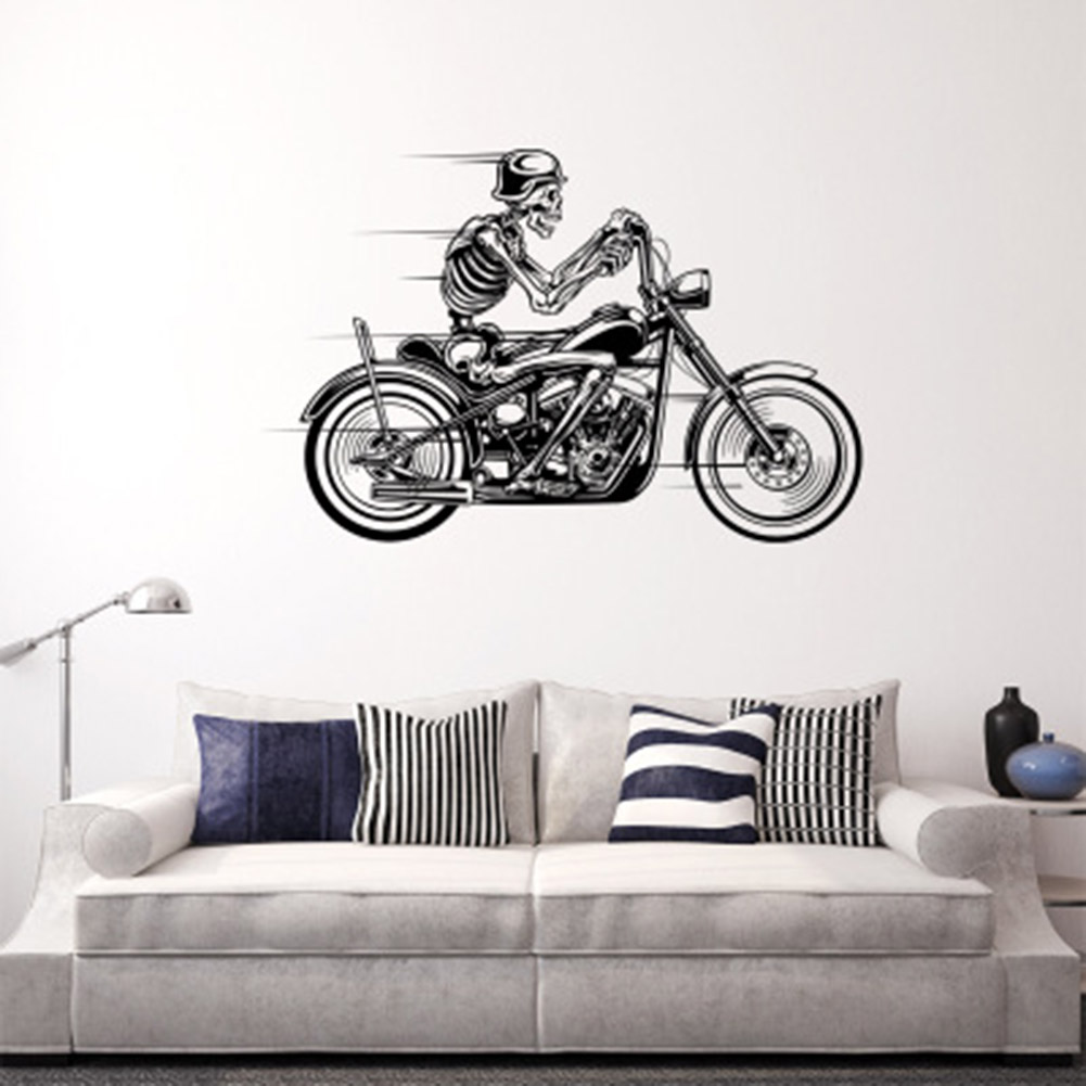 Wall sticker motorcycle skeleton biker skull car truck window vinyl decal new