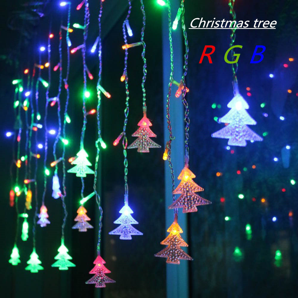 4.5M 96 Leds Curtain Christmas Tree Icicle String Lights Fairy Lights Christmas New Year Lights Wedding Party Decoration EU 220V цены