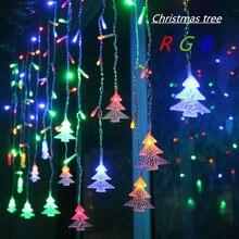 цена на 4.5M 96 Leds Curtain Christmas Tree Icicle String Lights Fairy Lights Christmas New Year Lights Wedding Party Decoration EU 220V