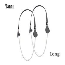 Tanqu cinturón plano de PU largo y colorido para mujer, extremo con cadena larga para asas de bolsa, bolso de mano