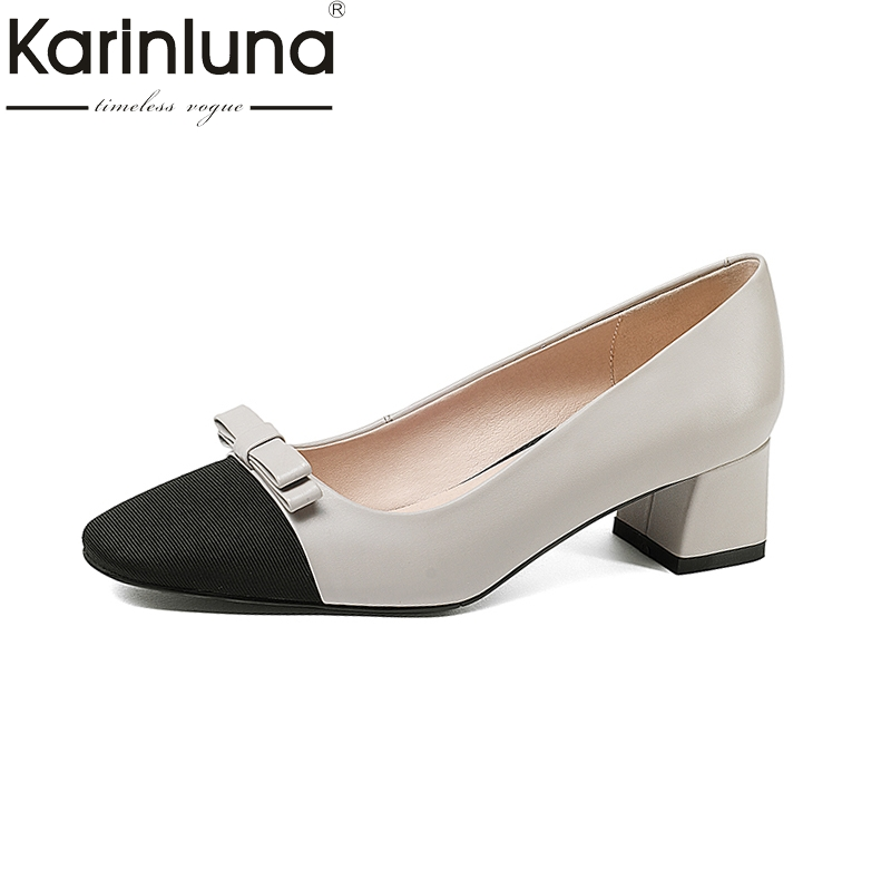 KarinLuna 2018 genuine leather new large size 33-40 slip on women shoes pointed toe chunky Heels bowtie shoes woman pumps hot sale 2016 new fashion spring women flats black shoes ladies pointed toe slip on flat women s shoes size 33 43