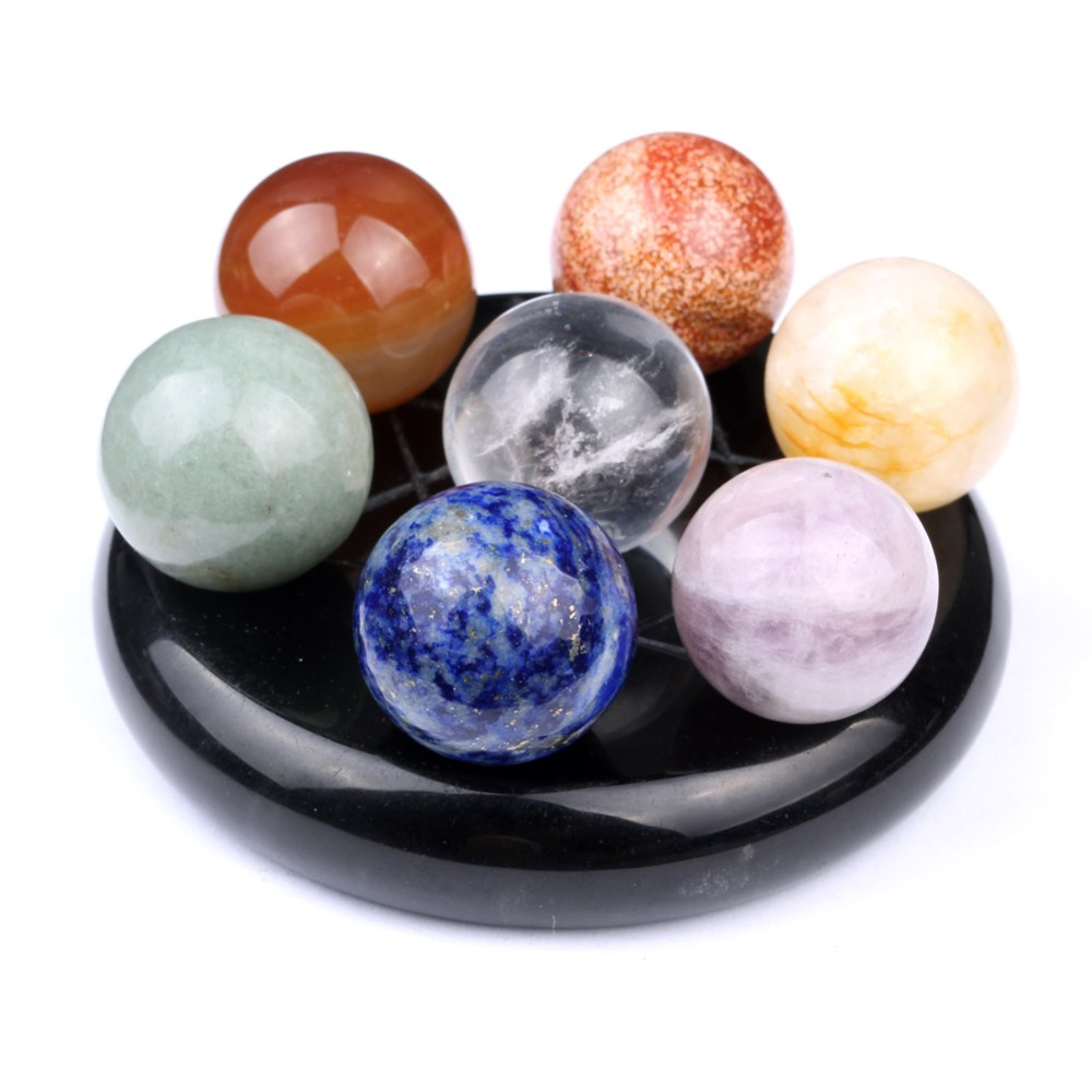 Natural Tumbled Chakra Stones Quartz Crystals Carved Fengshui Seven star Appetizer Plate Crystal Ball SPH119
