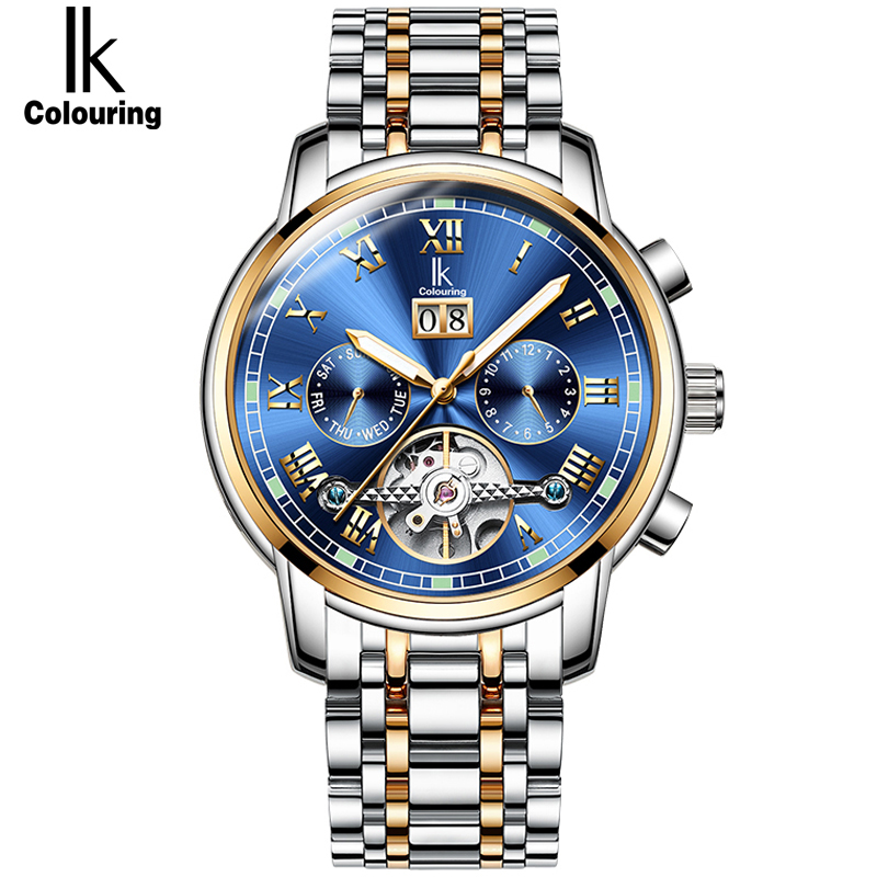 IK Skeleton Tourbillon Calendar Mechanical Watch Top Brand Luxury Men Automatic Mechanical Wrist Watches Reloj Hombre 2017 new mechanical hollow watches men top brand luxury shenhua flywheel automatic skeleton watch men tourbillon wrist watch for men
