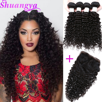 Brazilian Deep Wave Hair Top Human Hair Bundles With Closure Free Part 3/4 Bundles With Closure Shuangya Remy Hair Extensions