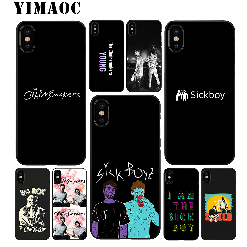 YIMAOC The Chainsmokers Soft TPU Black Silicone Case for iPhone X or 10 8 7 6 6S Plus 5 5S SE Xr Xs Max image