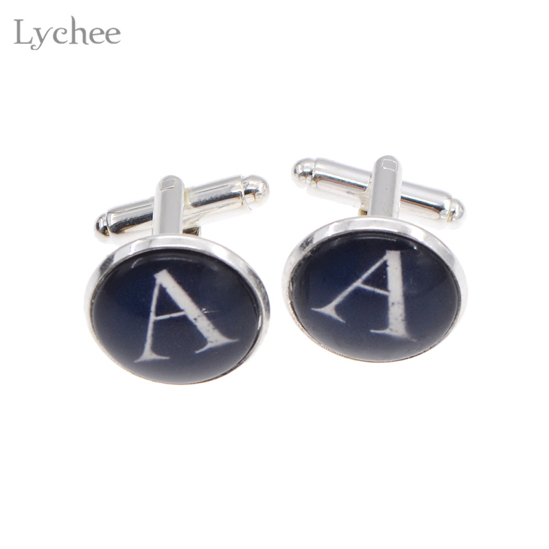 Lychee 1 pair Glass Cabochons Cuff Links Letter A to M Wedding Shirt Cufflinks for Men Jewelry