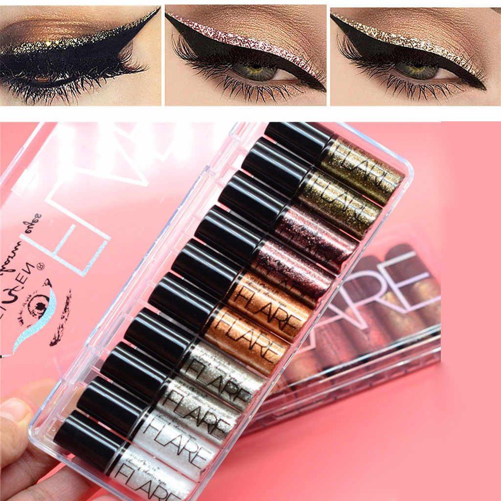 Portable 5 Warna Metallic Shiny Smoky Eyes Eyeshadow Tahan Air Glitter Eyeliner Cair Makeup Eyeshadow G709