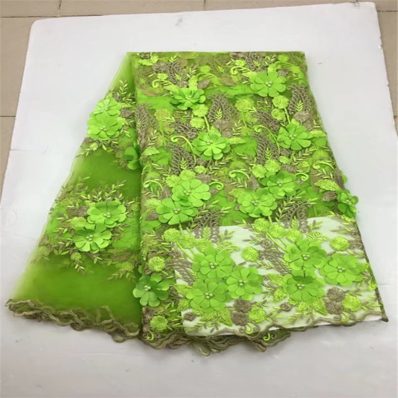 Latest african net lace high quality green african french applique beaded lace fabric for wedding dress tulle mesh lace fabric