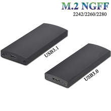 M2 NGFF Type-C external enclosure aluminum adapter drive case for B or B+M key ssd hdd enclosure