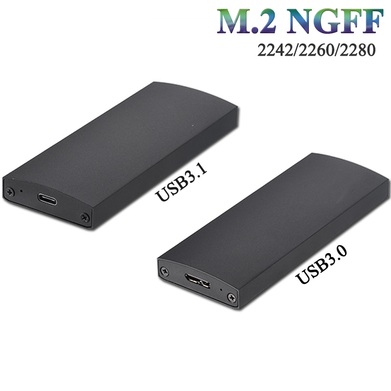 M2 NGFF Type C external enclosure aluminum adapter drive case for B or B+M key ssd hdd enclosure