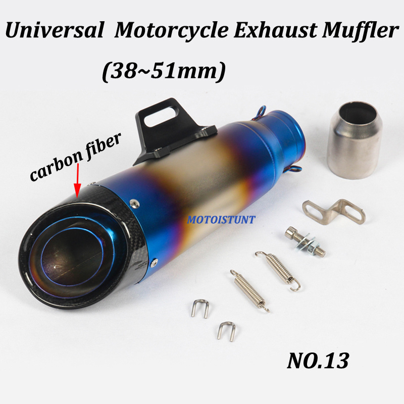 Image 4 - 51mm 61mm Universal Motorcycle Exhaust Muffler Modified With S C Laser Marking Carbon fiber+stainless steel For S1000RR R6 Z250-in Exhaust & Exhaust Systems from Automobiles & Motorcycles