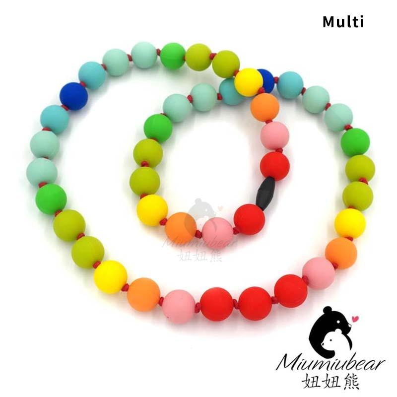Baby silikon tenn halsband helt regnbåge pärla halsband tuggbar - Barnomsorg - Foto 5