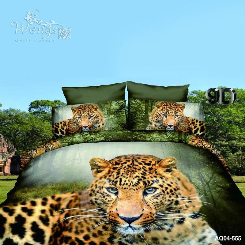Ensemble de literie en coton mélangé imprimé léopard vert pour housse de couette
