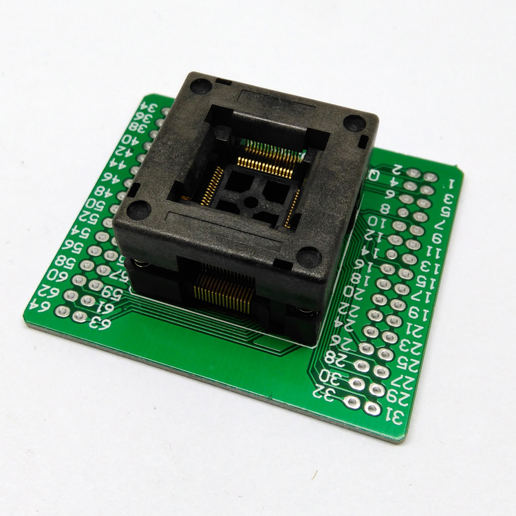 QFP64 TQFP64 LQFP64 Open top Structure Burn in Socket Pitch 0.5mm FPQ-64-0.5-06 Test Flash Programming Adapter w5500 lqfp 48