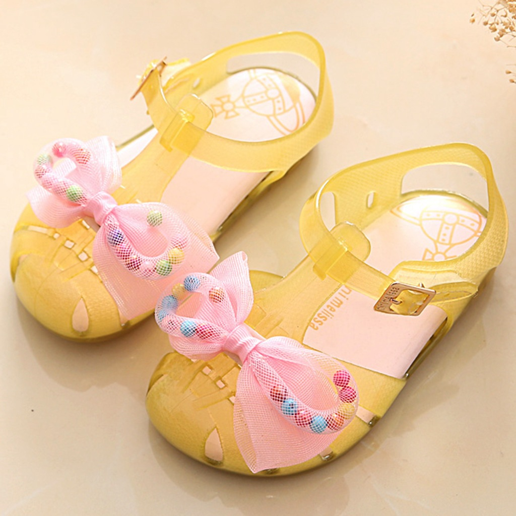 Mini Melissa girls Bow Shoes 2018 New design Summer Children anti skid Jelly Shoe Candy Soft Bottom Princess Girl Sandals Kids