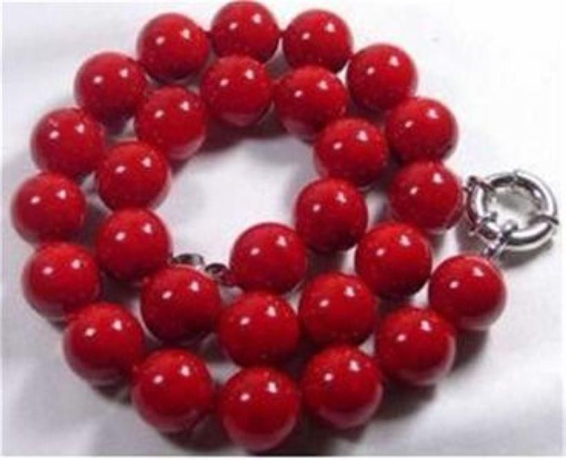 Nobility Lucky women's natural jewelry Beautiful 10mm Red Sea Coral Gems Round Bead Necklace AAA Silver hook silver-jewelry