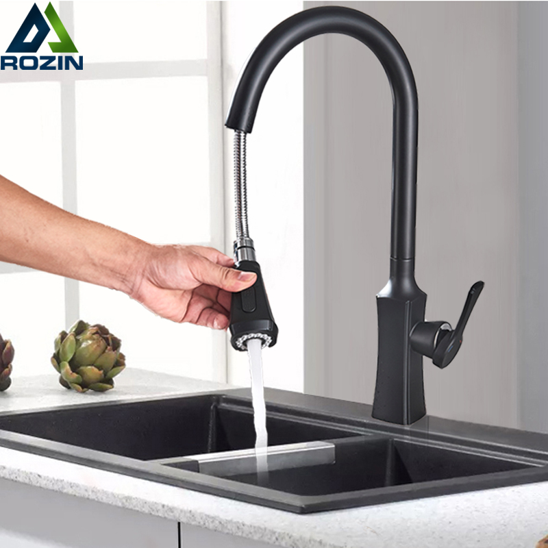 Black Pull Out Kitchen Sink Faucet Single Hole One Handle Hot Cold Water Mixer Tap Pull Out Spout Stream Sprayer Mixer Faucet