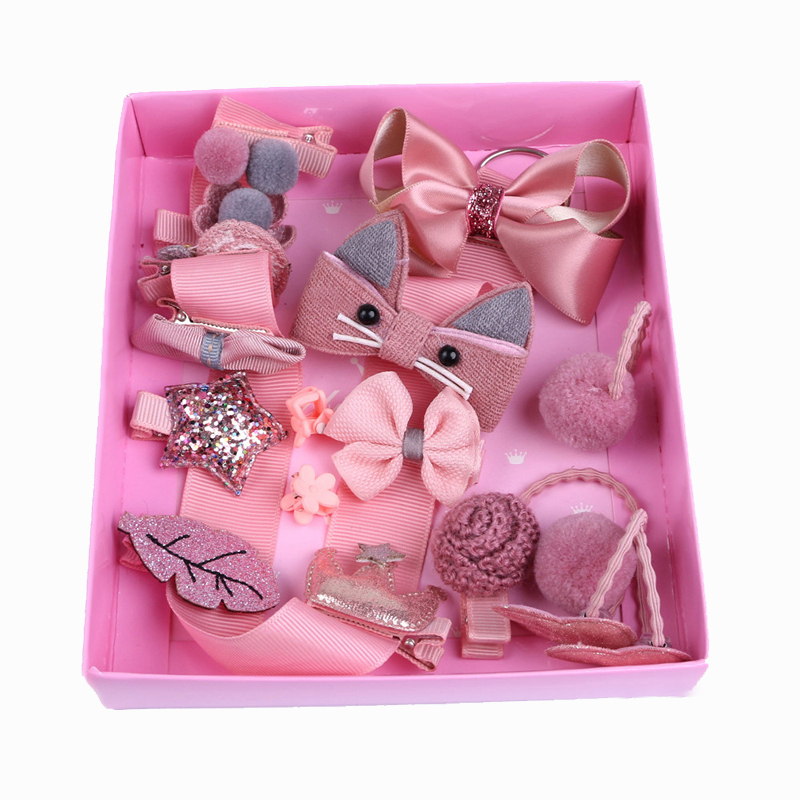 New Arrivals 18Pcs/Lot Girls   Headwear   Set High Quality Children Bow Crown Hairpins Hair Rubber Band Hair Accessories Gift Boxed