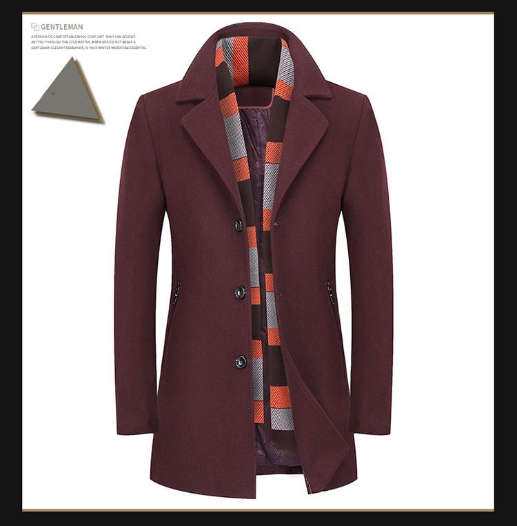 lã masculino negócios casuais qualidade marca lã casaco