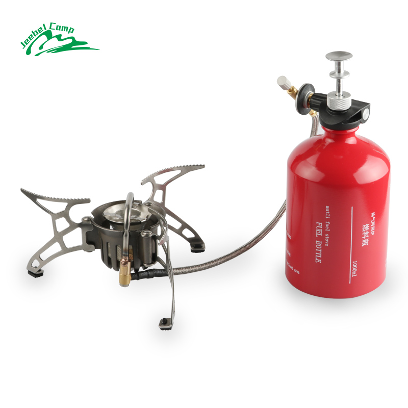 Jeebel Non-preheating Gasoline Gas Stove Set 1000ml Big capacity Bottle Outdoor Hiking Camping portable Burners with Windshield 2 pieces lot 500ml monteggia gas washing bottle porous tube lab glass gas washing bottle muencks
