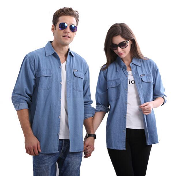 Femmes décontracté lâche à manches longues chemise nouveau 2018 Couple à manches longues denim petit haut grande taille 4xl chemise décontracté lâche chemise