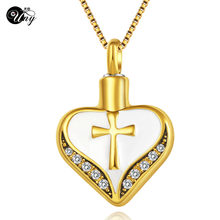 UNY Heart Cremation Ashes Necklaces Pendants Ash cross Urn Jewelry Urn Ashes Necklace pet Memorial Cremation Pendant keepsake(China)