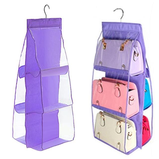 Mochila organizador Bolsa De Armazenamento Sacos Pendurados Saco de Armazenamento Sapato Alto Material de Casa 6 Bolso Closet Cabides de Rack